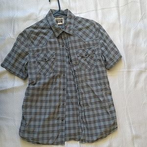 Light blue casual button down, short sleeved